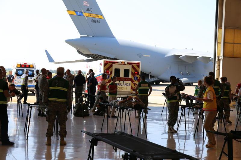 Ambulances preparing to evacuate actor/patient