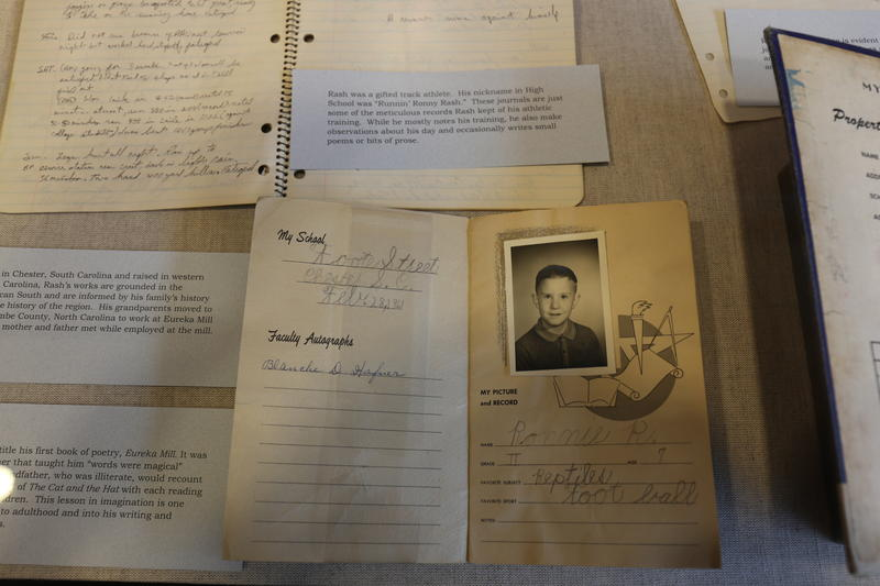Samples of Rash's personal archive, on display at the University of South Carolina Libraries.