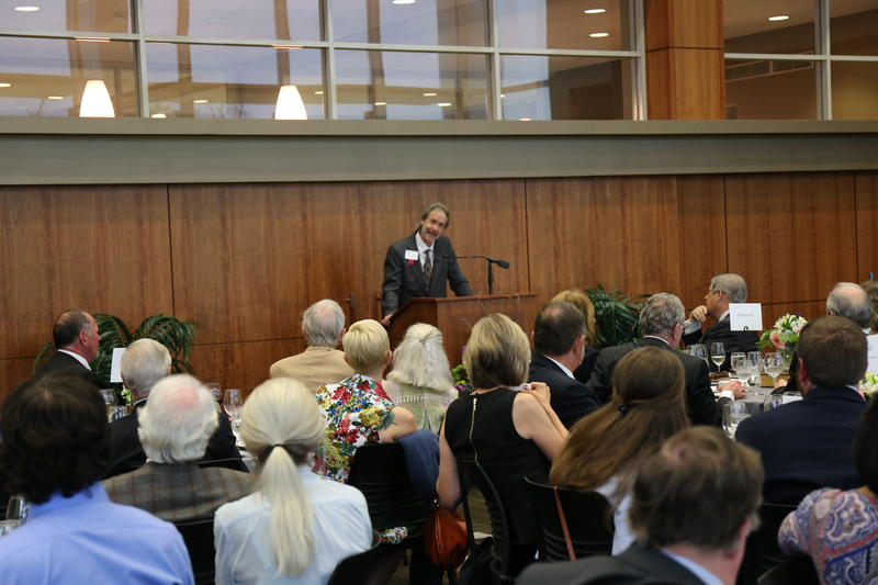 Ron Rash delivering a talk and reading for members of the Thomas Cooper Society, April 2017.