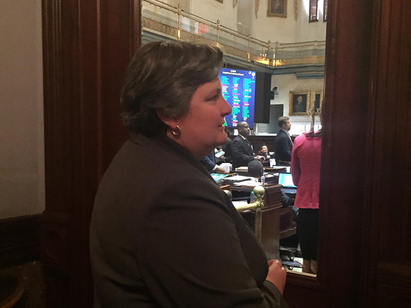 S.C. DOT Secretary Christy Hall watching the House of Representatives final vote on a $600 Million road funding bill.