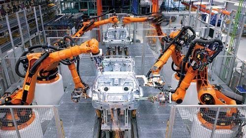 Industrial robots on an automobile assembly line.