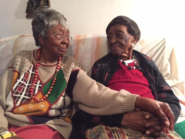"Laura Wright of Saluda (right), just turned 111 years old.  Her ""baby sister,"" Annie Belle Chappelle, is 96."