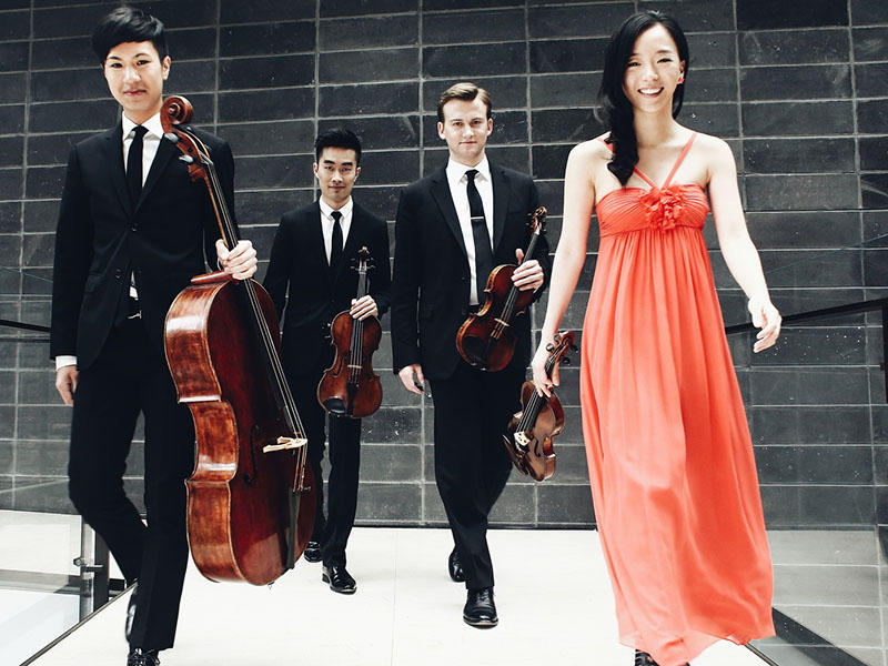 The Rolston String Quartet: Jonathan Lo, Cello; Hezekiah Leung, Viola; Jeffrey Dyrda, Violin; Luri Lee, Violin.