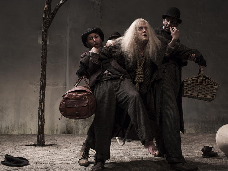 Druid's Aaron Monaghan, Garrett Lombard, and Marty Rea in Samuel Beckett's Waiting for Godot; Druid Artistic Director Garry Hynes brings this production to the Dock Street Theatre through June 11, 2017.