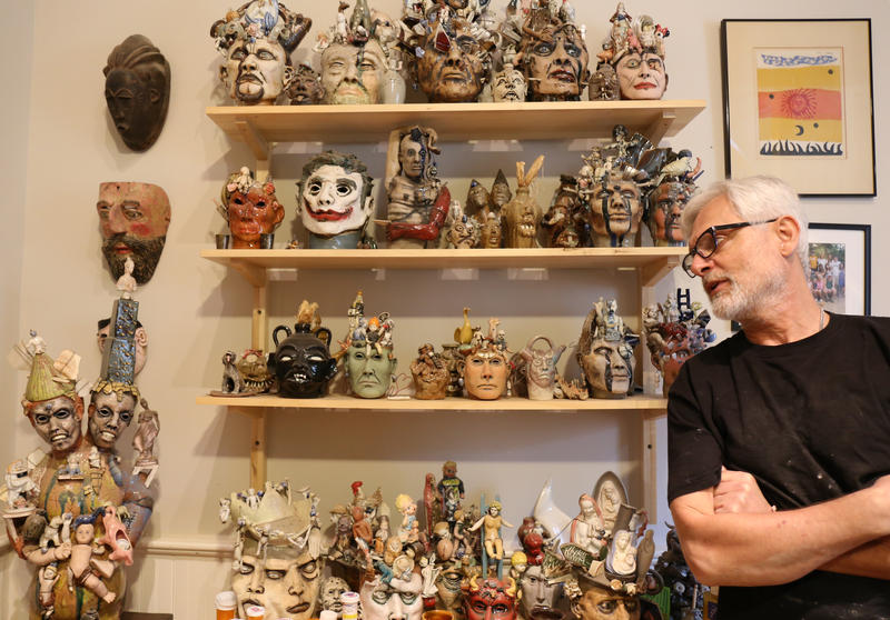 Artist Peter Lenzo with a collection of his sculpture at his home in Columbia, SC.