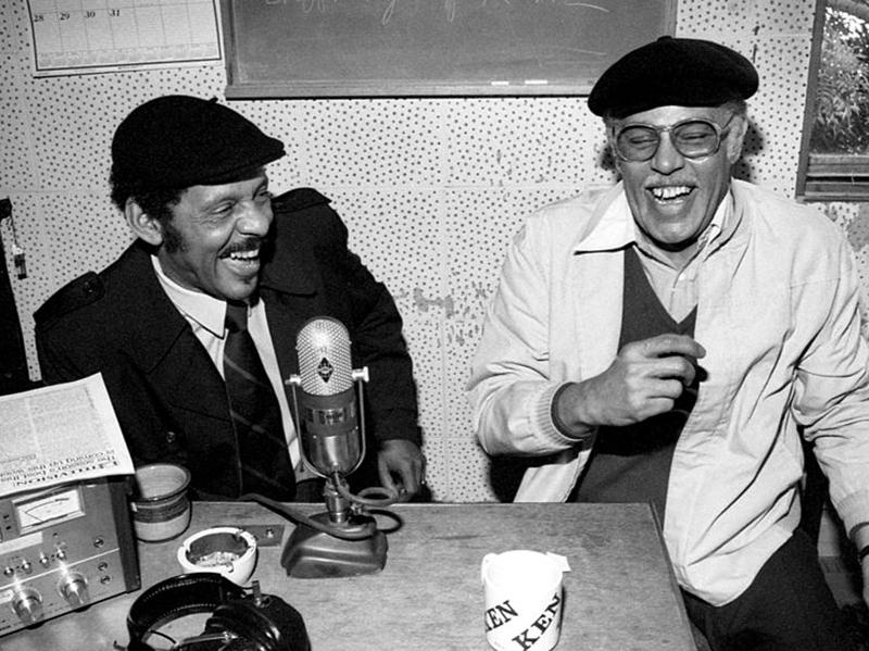 Ernie Andrews (left) and Dexter Gordon at KJAZ radio, Alameda CA December 1980.