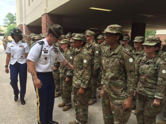 Inspecting the new troops at Fort Jackson.  They learn the rules quickly- or they'll hear about it.