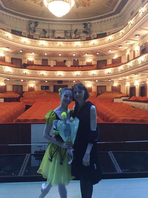Katya Nechayeva on her graduation from Perm State Ballet School in Russia, with her mother, Irina Ushakova.