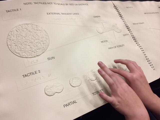 Raised images of different textures help the blind and visually impaired to understand the process of what happens during an eclipse, in the book