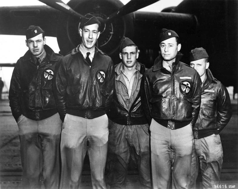 Crew 16 of the Doolittle Raiders. Left to right: Lt George Barr, Lt William G. Farrow, Sgt Harold A. Spatz, Lt Robert L. Hite, and Cpl Jacob D. DeShazer.