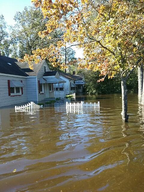 Hurricane Matthew cuased major flooding in Nichols, SC in October 2016.