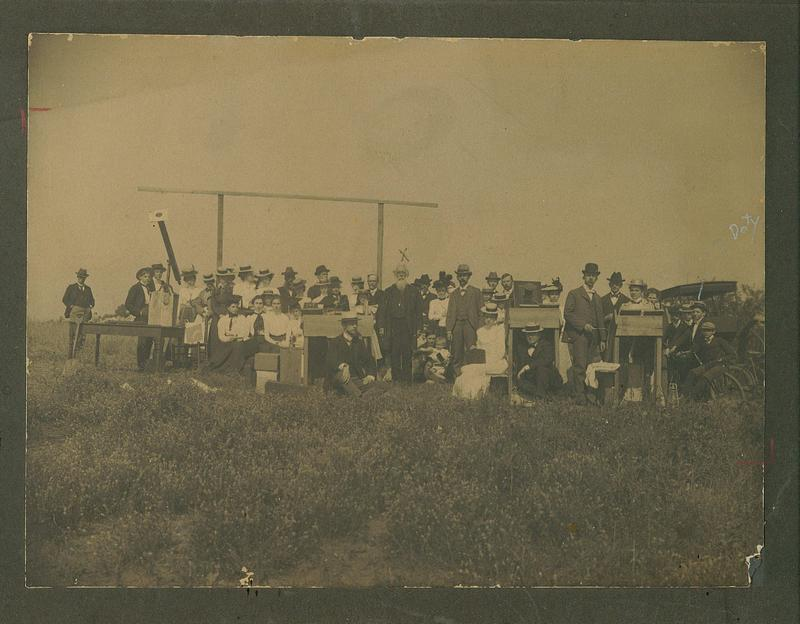 Recently identified photo of scientist, academics and dignitaries gathered to witness the May 28, 1900 solar eclipse in Winnsboro, SC.