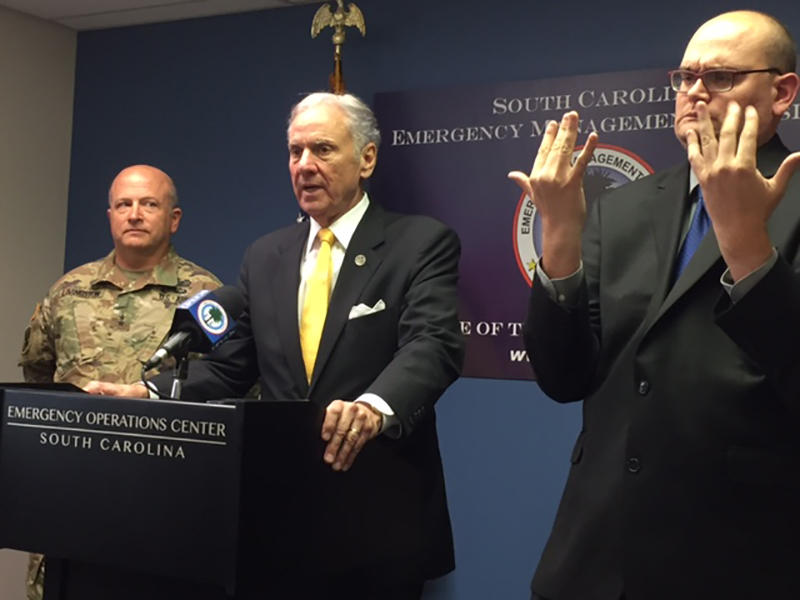 Gov. McMaster holds press conference about Hurricane Irma, Wednesday, Sep 6, 2017. McMaster declared a state of emergency for South Carolina.