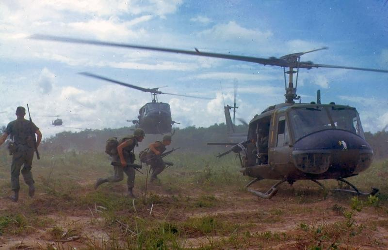 "U.S. Army Bell UH-1D helicopters airlift members of the 2nd Battalion, 14th Infantry Regiment from the Filhol Rubber Plantation area to a new staging area, during Operation ""Wahiawa"", conducted by the 25th Infantry Division, northeast of Cu Chi."