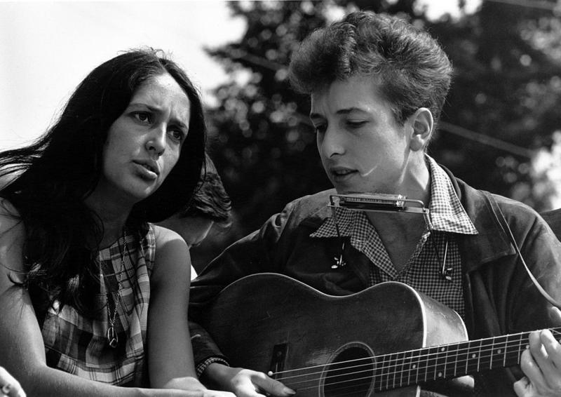 Bob Dylan with Joan Baez during the March on Washington in Washington, D.C., 1963.