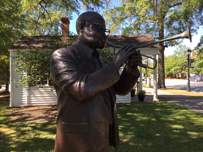 "A statue of John Birks ""Dizzy"" Gillespie outside his family home in Cheraw, SC."