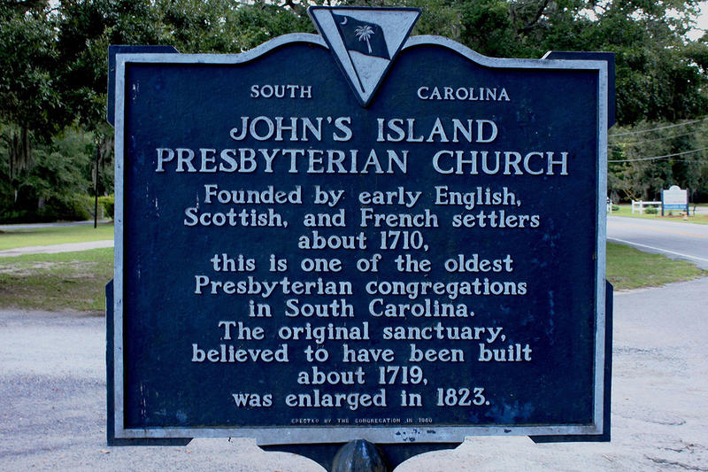 Historical marker outside John's Island Presbyterian Church