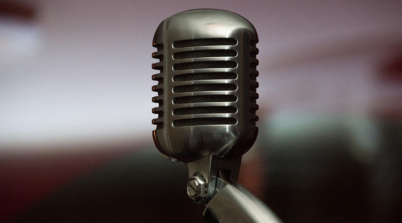 A vintage microphone.