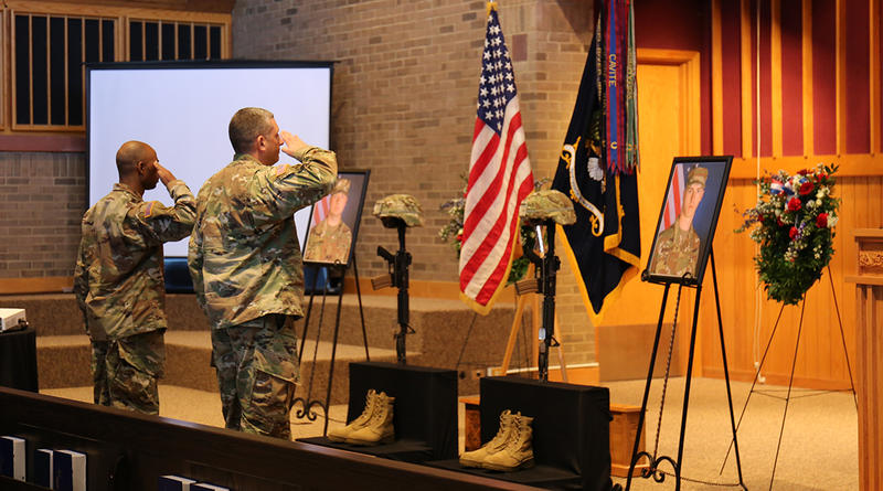 Soldiers participate in final salutes for Privates Timothy Ashcroft and Ethan Shrader during a memorial service at Fort Jackson Post Chapel.