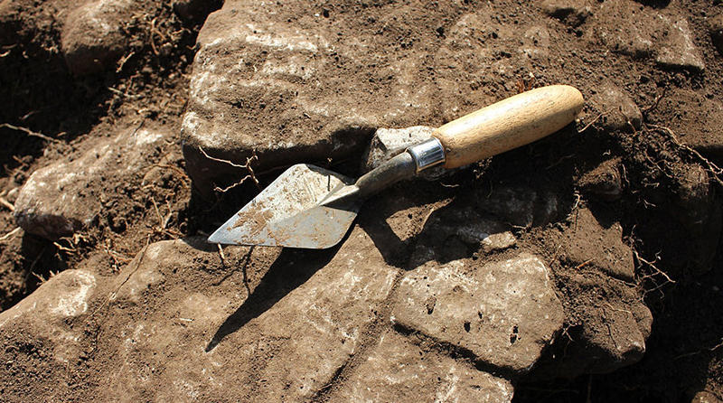 Trowel at an archaeological dig.