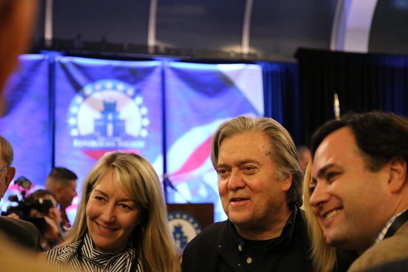 Steve Bannon poses fo rpictures at Citadel Republican Society fundraiser