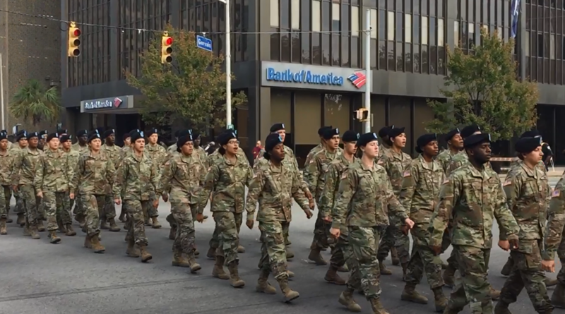Fort Jackson trainees during 2016 Columbia Veterans Day Parade.