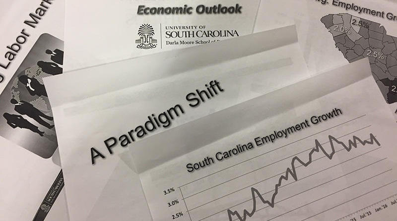 File: An information packet from last year's Economic Outlook Conference at USC.