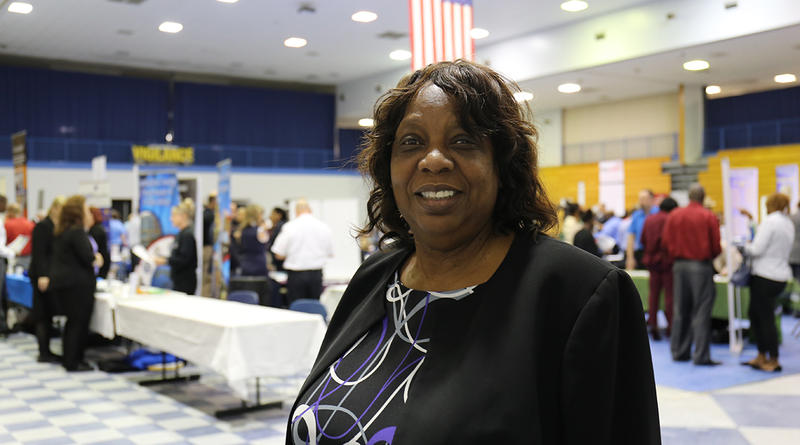 Soldier For Life Transition Assistant Program Manager Carolyn Andrews during 2017 career fair.