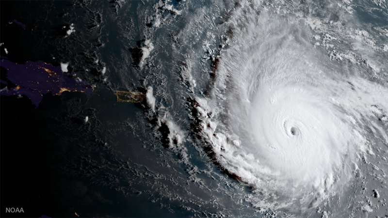 A satellite view of Hurricane irma on September 5, 2017.