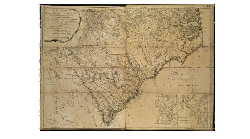 """An accurate map of North and South Carolina with their Indian frontiers, shewing in a distinct manner all the mountains, rivers, swamps, marshes, bays, creeks, harbours, sandbanks and soundings on the coasts."" Henry Mouzon, 1775"