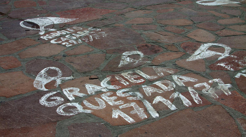 The distinctive white shawl protest graffiti of the Mothers of the Plaza de Mayo makes its mark in Bariloche's central square.
