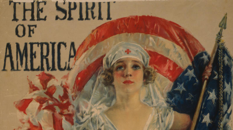 Detail from a poster showing a Red Cross nurse with an American flag and the Red Cross symbol. (Artist: Howard Chandler Christie)