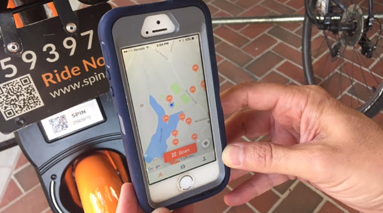 A rider can find the locations of available bikes by GPS.