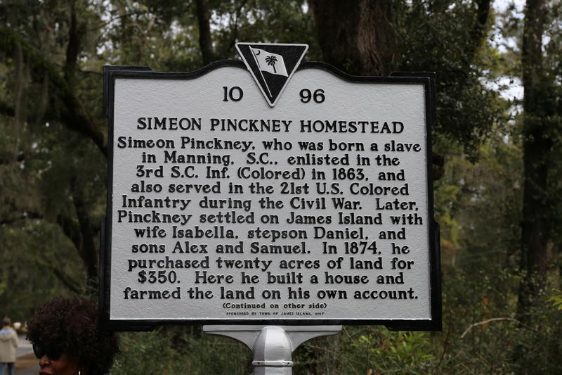 Marker on Fort Johnson Road honoring Simeon Pinckney