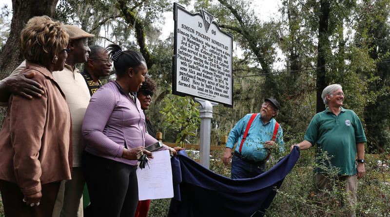 Friends and family unveil marker honoring Simeon Pinckney on James Island.