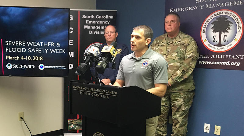 Meteorologist John Quagliariello of the National Weather Service encouraged preparedness for tornadoes, floods and other severe weather at a press conference on Tuesday, March 6, 2018.