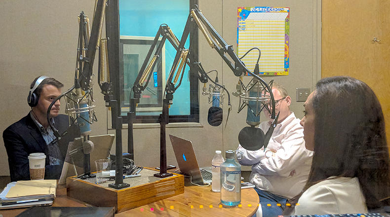 Gavin Jackson (l) speaks with Jamie Lovegrove and Meg Kinnard (r) in the South Carolina Public Radio studios on Monday, April 23, 2018.