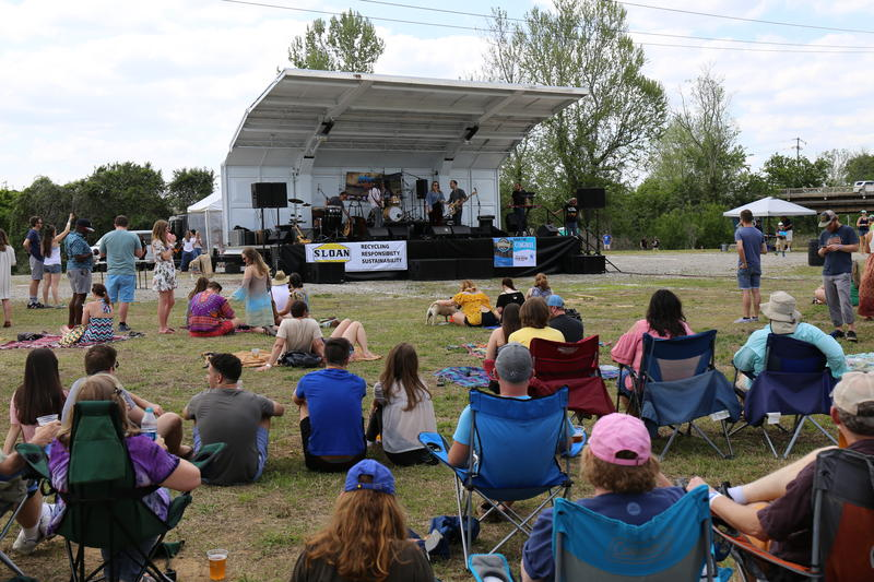 The stage at the eighth annual River Rocks Music Festival. Damages caused by the floods of 2015 forced the festival to relocate from its usual location at Riverfront Park.