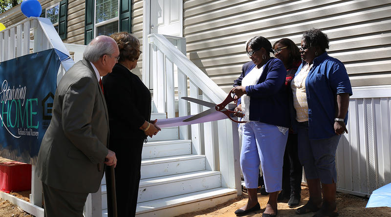 Richland County celebrates the first new mobile home given to a 2015 flood survivor.
