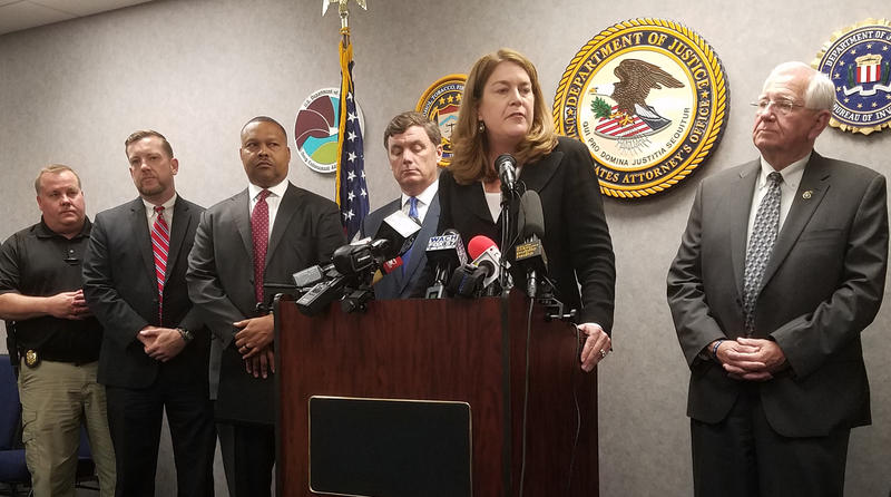 Beth Drake, United States Attorney, with officials from SLED, SC Departent of Corrections, and the FBI.