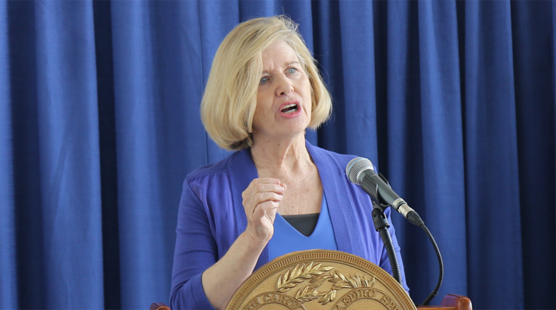 At State Education Department in Columbia, Superintendent Molly Spearman announces state of emergency in Williamsburg County School District.
