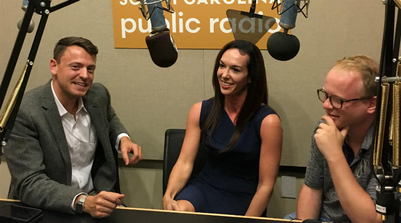 Gavin Jackson (l) speaks with Meg Kinnard and Jamie Lovegrove (r) in the South Carolina Public Radio studios on Friday, May 25, 2018.