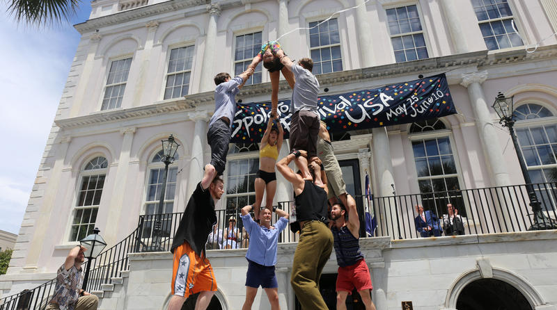 Gravity and Other Myths performs at Spoleto 2018 Opening Ceremony in downtown Charleston.