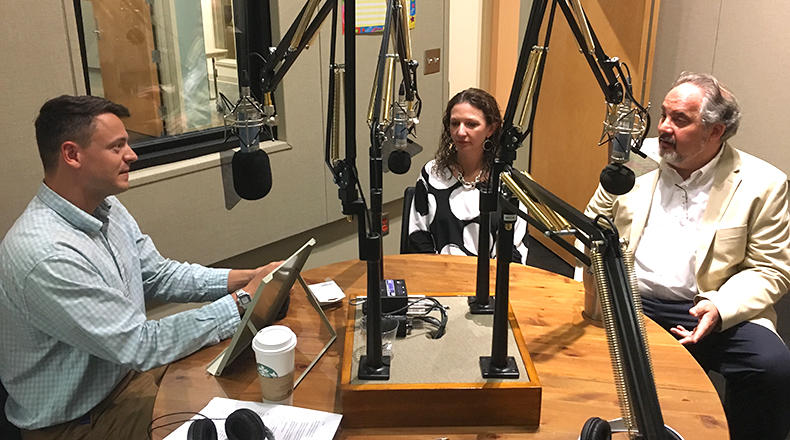 Gavin Jackson (l) speaks with Seanna Adcox and Andy Shain (r) in the South Carolina Public Radio studios on Wednesday, June 6, 2018.