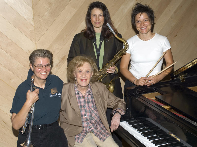 Ellen Seeling (Trumpet), Marian McPartland, Jean Fineberg (Saxophone) and Allison Miller (Drums), New York City, 2006