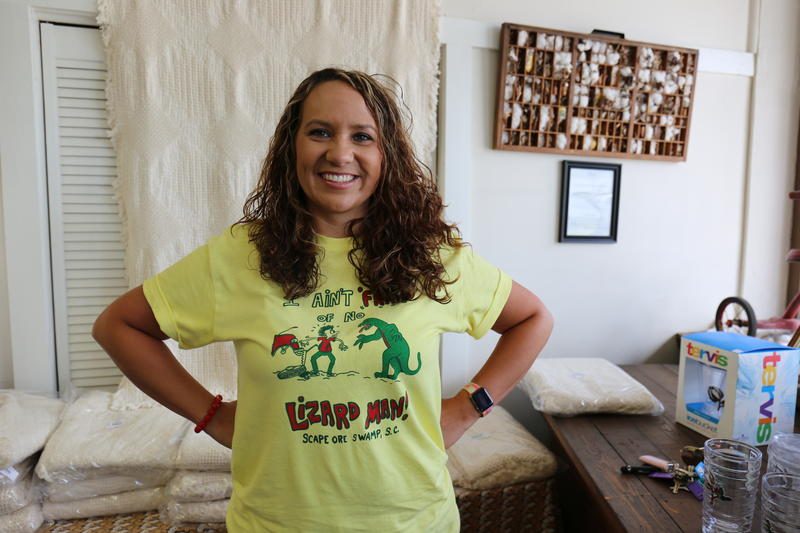 Lee County Chamber of Commerce Executive Director Lanette Hayes sports a classic Lizard Man design by Robert Howell.