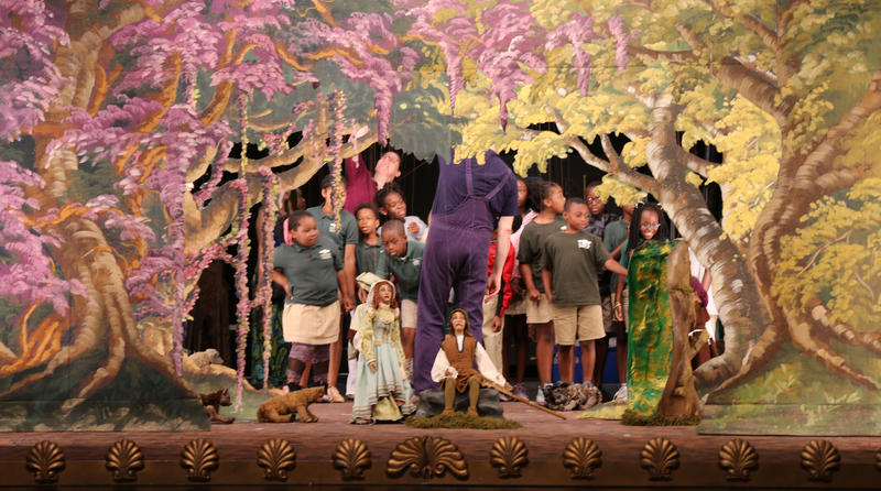 Kids from Charleston's Meeting Street Academy go backstage for the Carlo Colla and Sons Marionette Company performance of the Pied Piper
