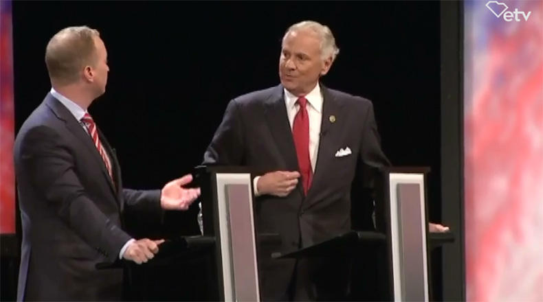 Governor Henry McMaster and businessman John Warren (left) debating on June 21 at the Newberry Opera House.