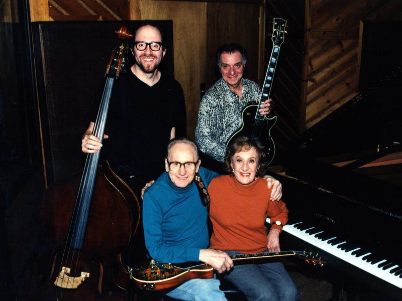 Marian McPartland sits next to guitarist Les Paul, with bassist Paul Nowinski and guitarist Lou Pallo, Avatar Recording Studios, New York, 1999