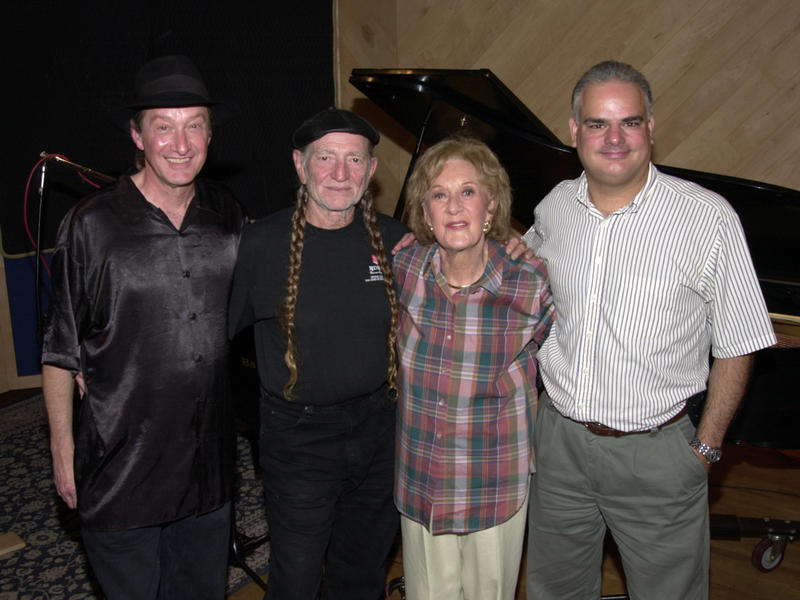 Jackie King, Willie Nelson, Marian McPartland and Duke Marcos, Manhattan Beach Studios, New York City, 2001